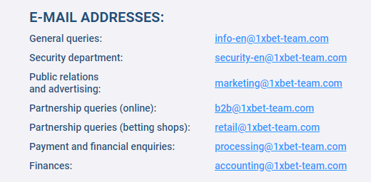 1xBet - write at a range of email addresses depending on the type of question or issue you have